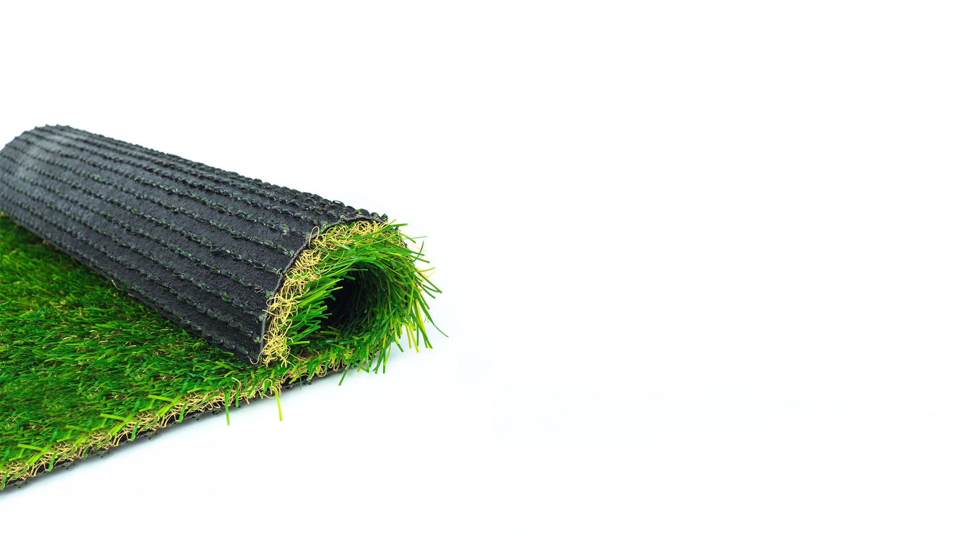 Artificial turf green grass roll on white background